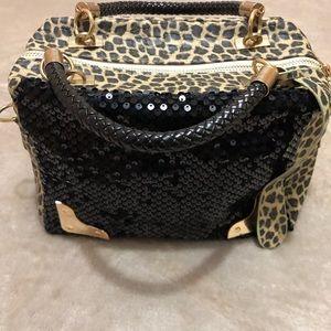 Leopard print/sequin handbag